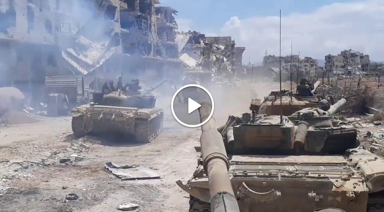 War footage: Syrian Army amasses troops to finish ISIS in S Damascus